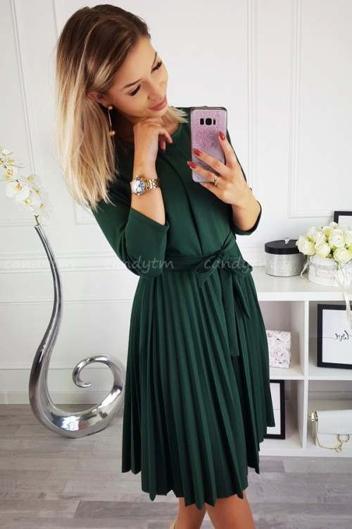 PLEATED MIDI DRESS BOTTLE GREEN