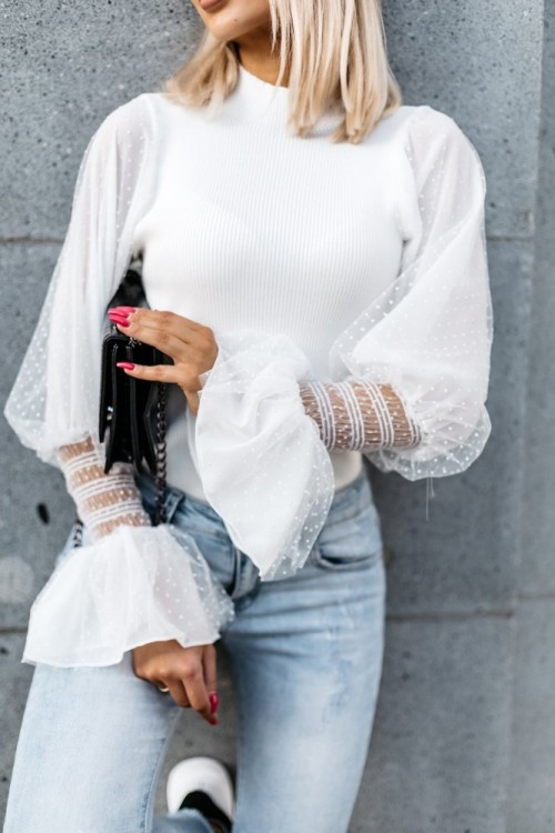 RIBBED BLOUSE TULLE WHITE
