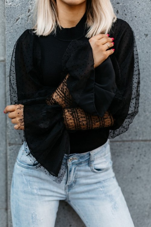 RIBBED BLOUSE TULLE BLACK