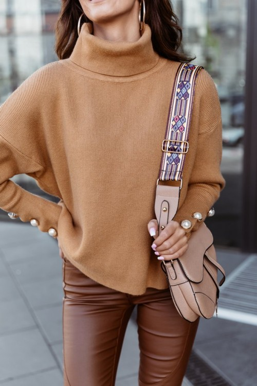SWEATER WITH PEARLS CAMEL