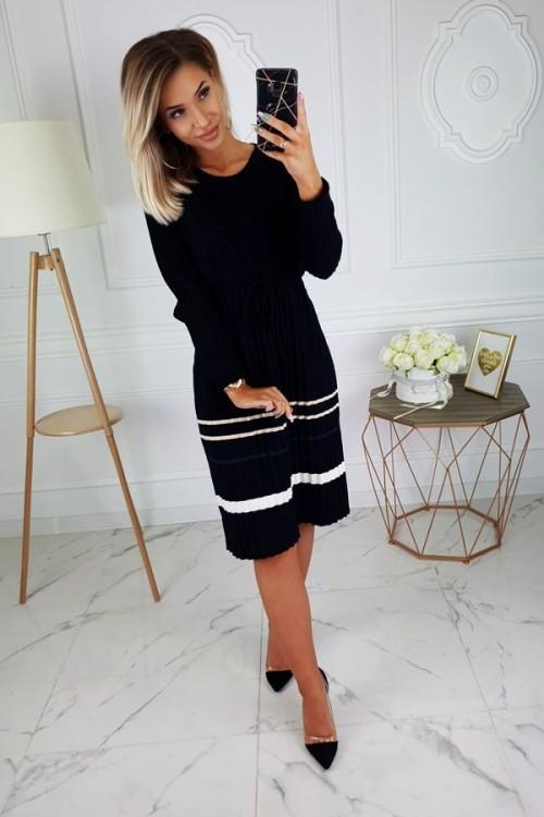 PLEATED SWEATER DRESS BLACK
