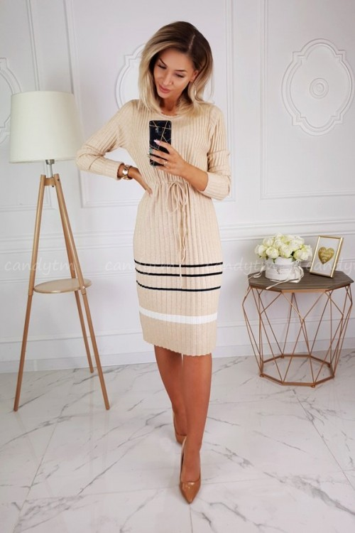 PLEATED SWEATER DRESS BEIGE