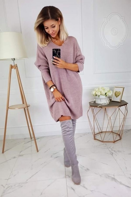 SWEATER/DRESS V-NECK ALPAKA OVERSIZE DIRTY PINK