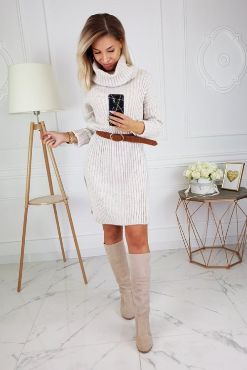 SWEATER DRESS WITH TURTLENECK BEIGE