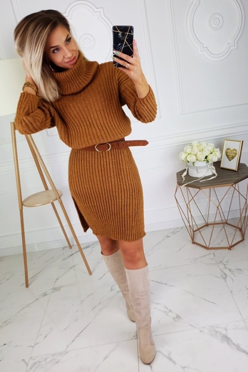 SWEATER DRESS WITH TURTLENECK CAMEL