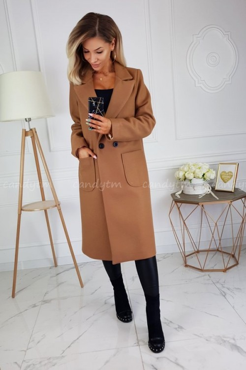 WOOL COAT TWO BUTTONS CAMEL