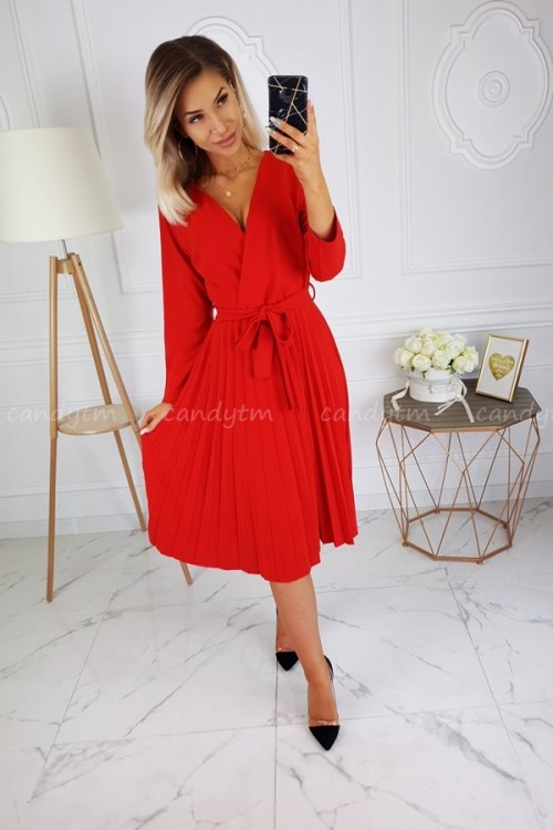 WRAP PLEATED DRESS RED
