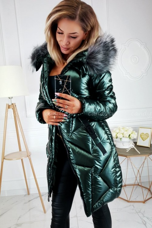 WINTER JACKET ARCTIC WITH FAUX FUR GREEN BOTTLE