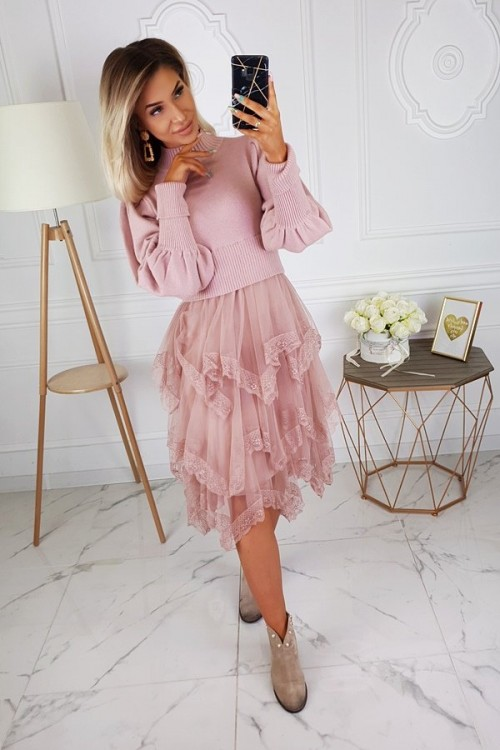 DRESS SWEATER WITH TULLE BOTTOM PINK