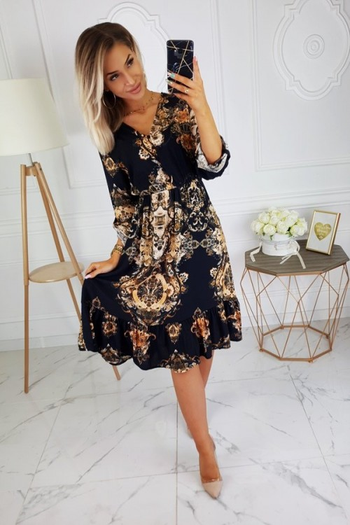 V-NECK DRESS BAROQUE BLACK