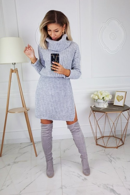 TURTLENECK DRESS SWEATER GREY