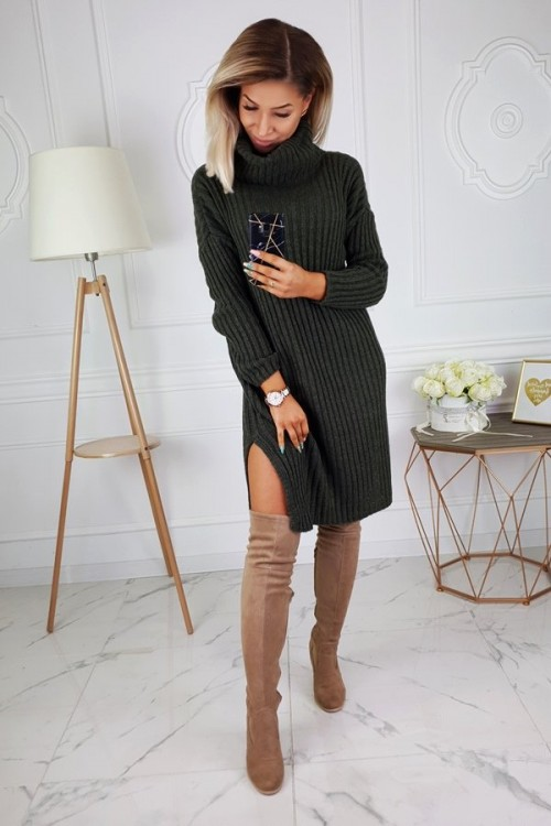 TURTLENECK DRESS SWEATER KHAKI