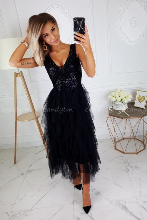 MAXI DRESS SEQUINS BLACK