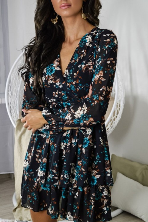 WRAP NECK DRESS WITH FLOWERS TURQUOISE