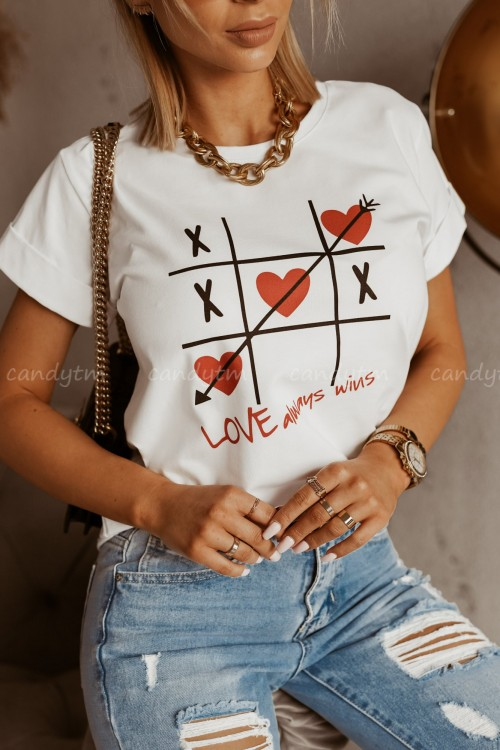 T-SHIRT LOVE ALWAYS WIN BIAŁY 1