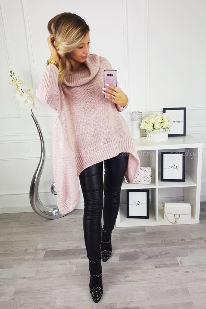 ASYMMETRIC SWEATER KAYO POWDER PINK