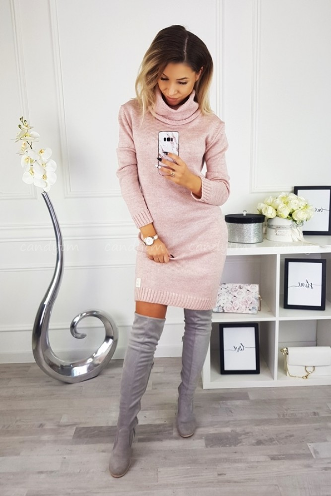 SWEATER/DRESS WITH TURTLENECK CANDY POWDER PINK