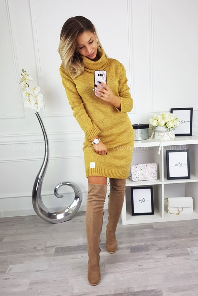 SWEATER DRESS CANDY WITH TURTLENECK MUSTARD