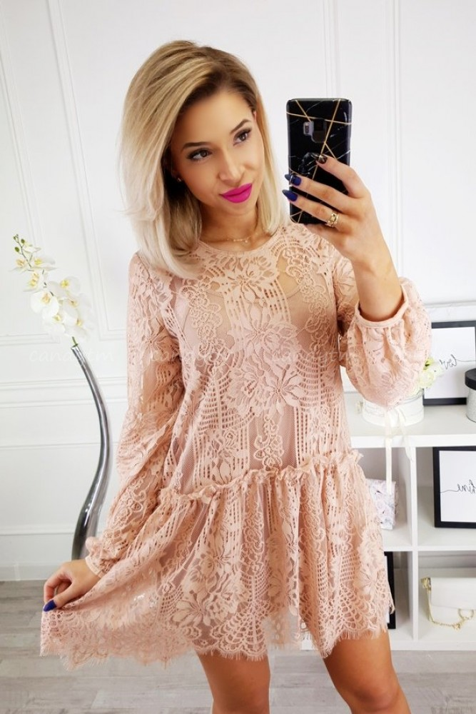 LACE DRESS/TUNIC TAUPE