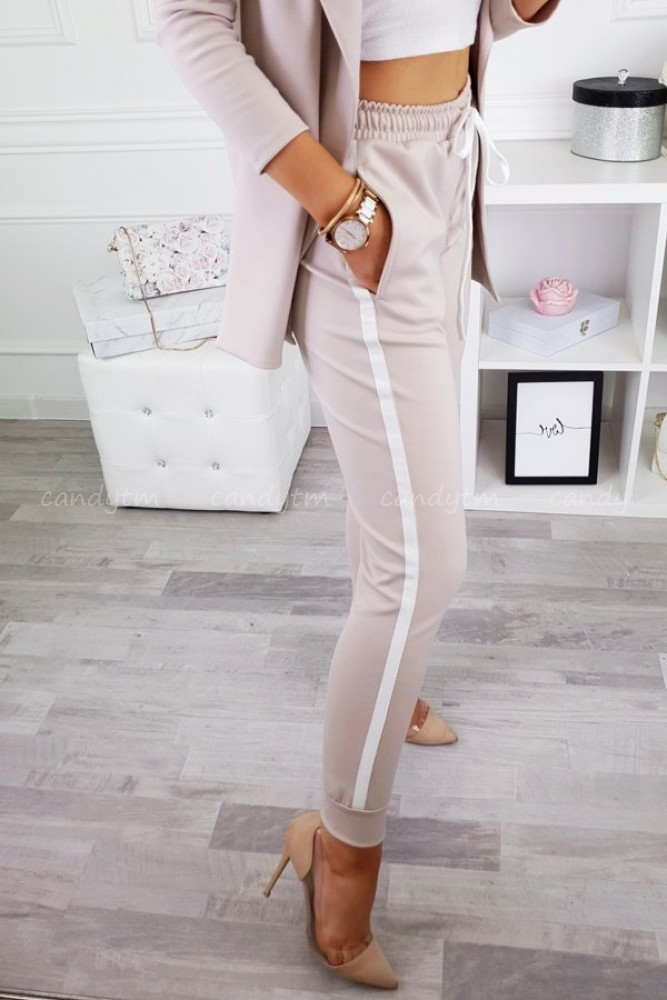 PANTS PLATINUM WITH SIDE STRIPES BEIGE
