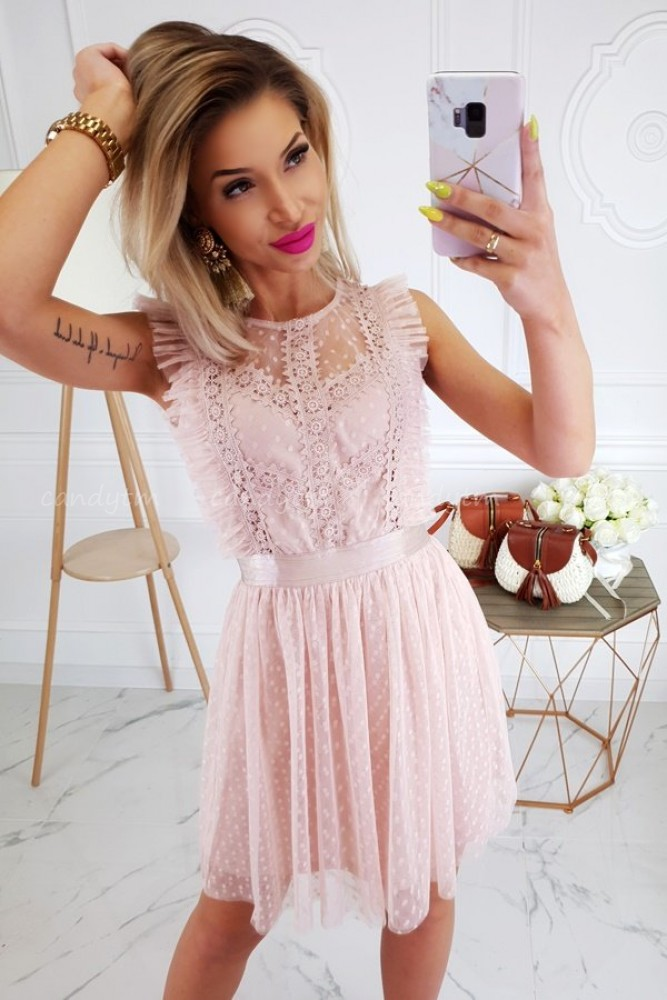 TULLE DRESS WITH POLKA DOTS NUDE/PINK