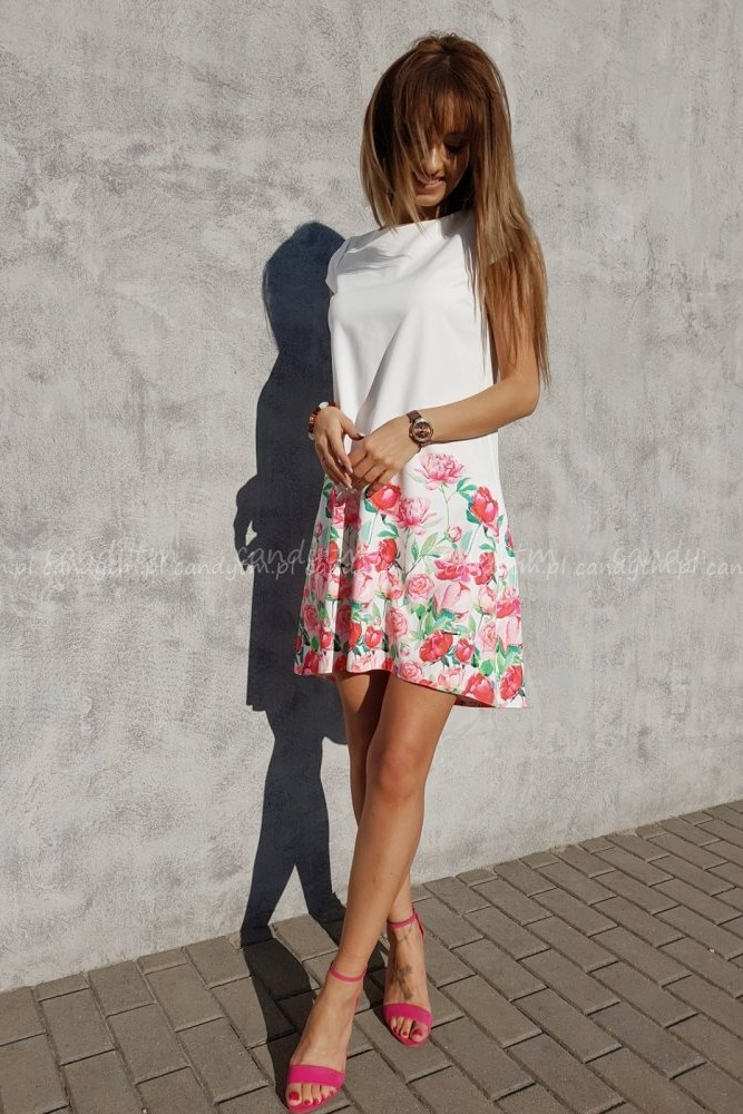 TEARDROP DRESS CREAM WHITE WITH RED FLOWERS