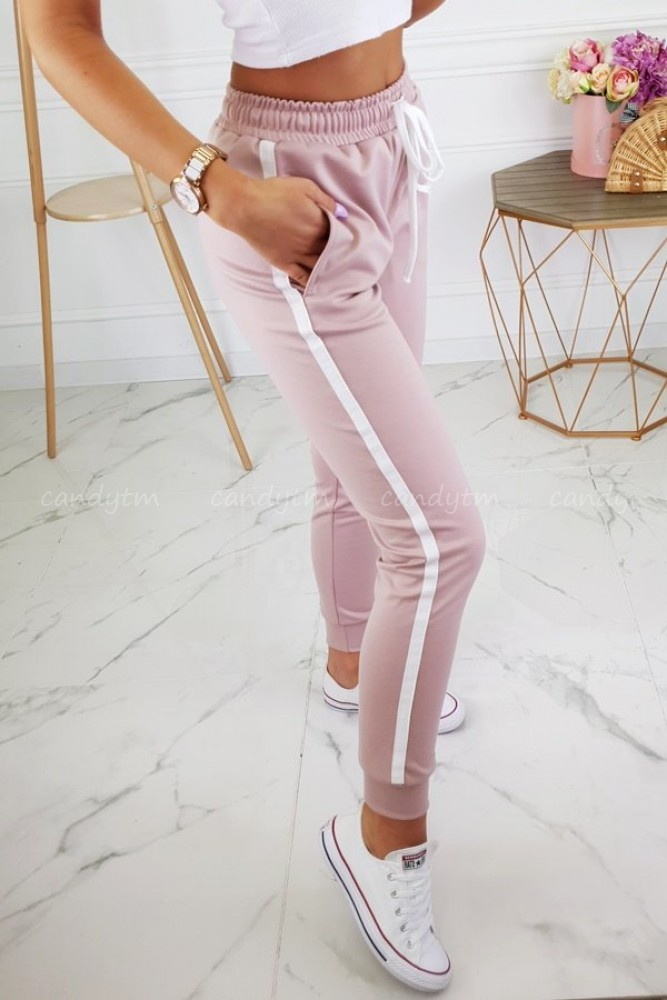 PANTS PLATINUM WITH SIDE STRIPES POWDER PINK
