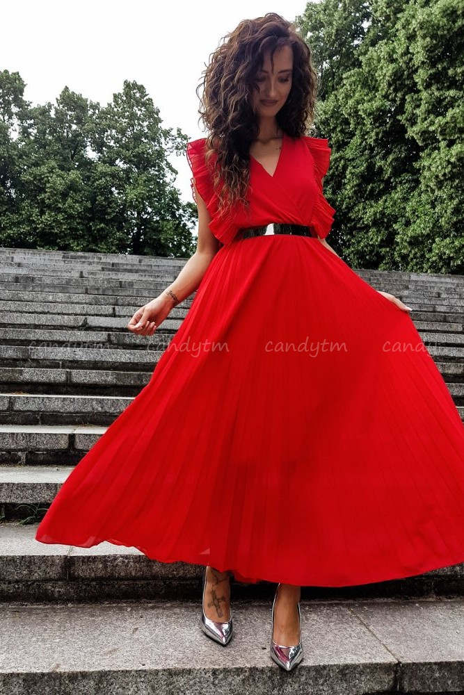 PLEATED MAXI DRESS PORTO RED