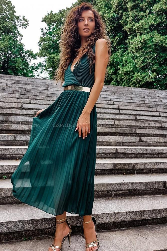 PLEATED MAXI DRESS BOTTLE GREEN