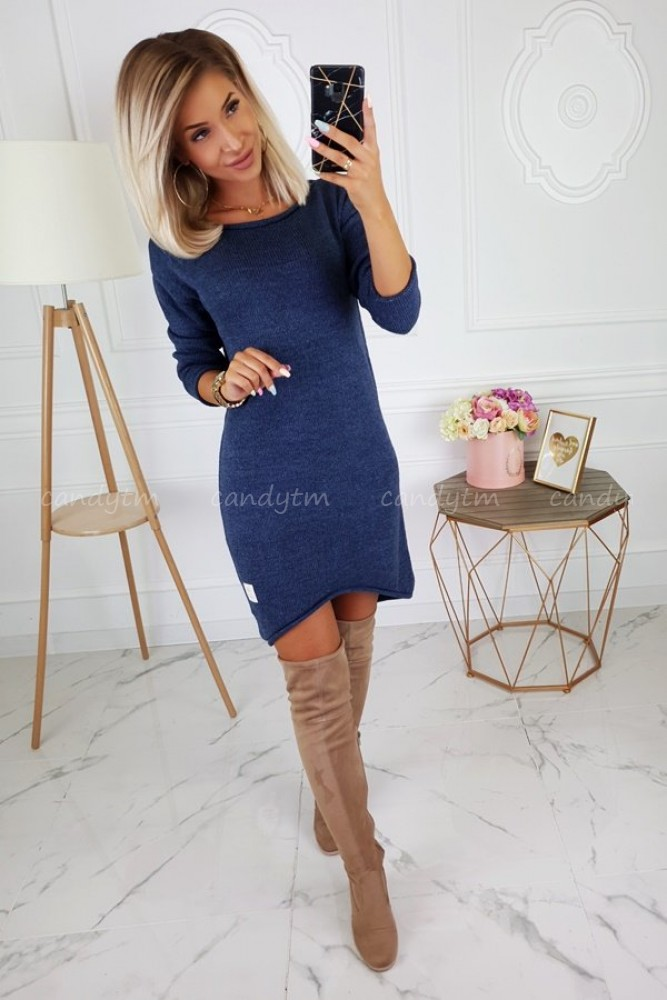 ASYMMETRIC DRESS SWEATER CANDY BLUE JEANS