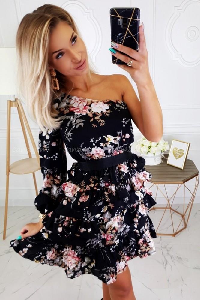 ONE SHOULDER DRESS FLOWERS