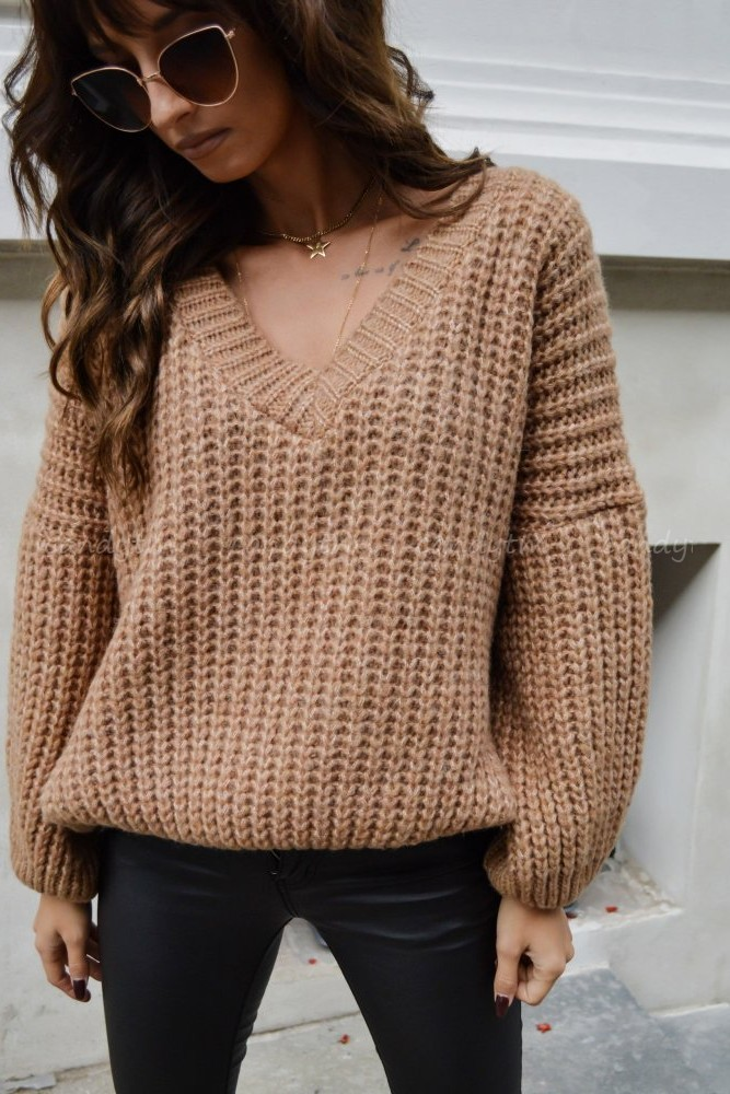 SWETER OVERSIZE BERRY CAMEL
