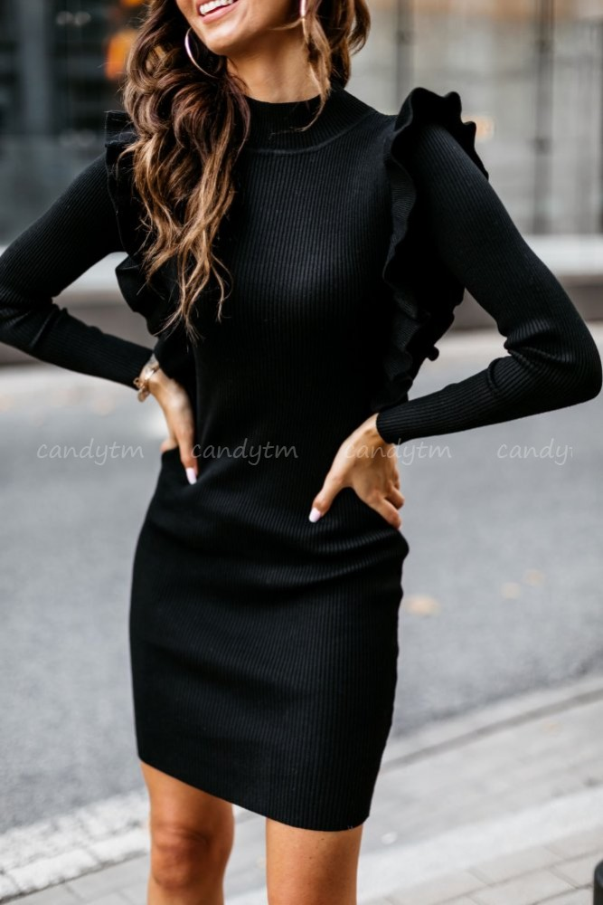 RIBBED DRESS BODYCON BLACK