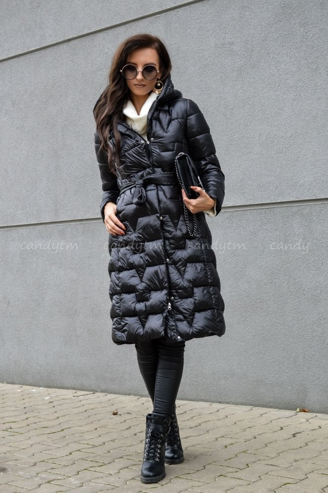 QUILTED WINTER COAT WITH HOOD NAVY BLACK