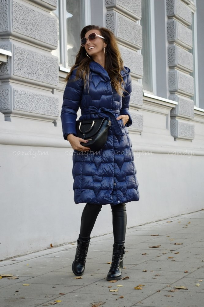 QUILTED WINTER COAT WITH HOOD NAVY BLUE