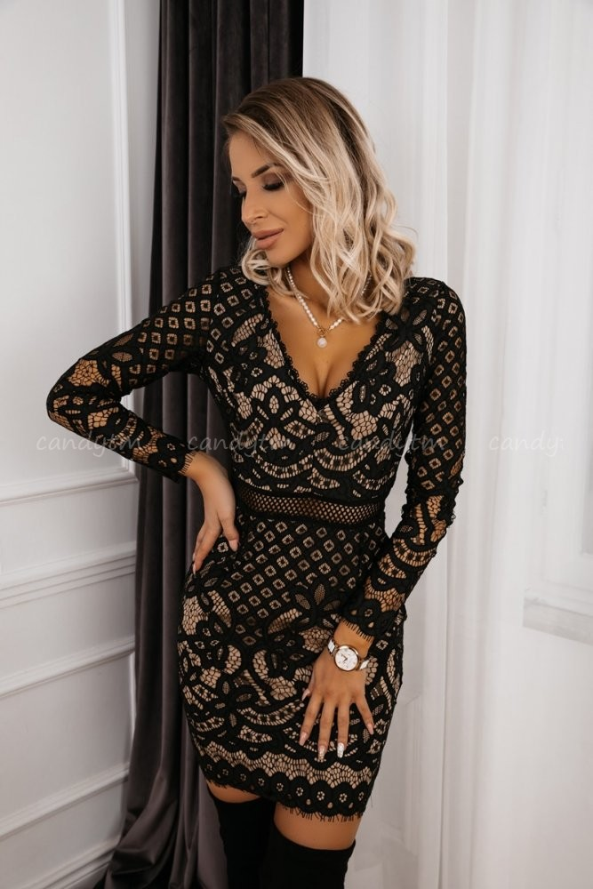LACE DRESS BELLA BLACK/BEIGE
