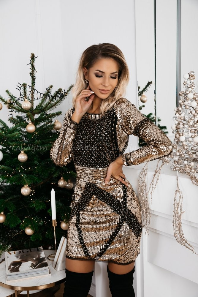 DRESS SEQUINS WESTWOOD GOLD