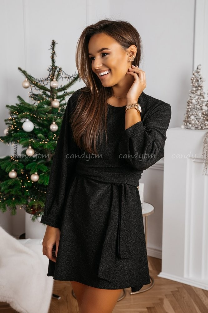 BROCADE DRESS WITH BELT BLACK