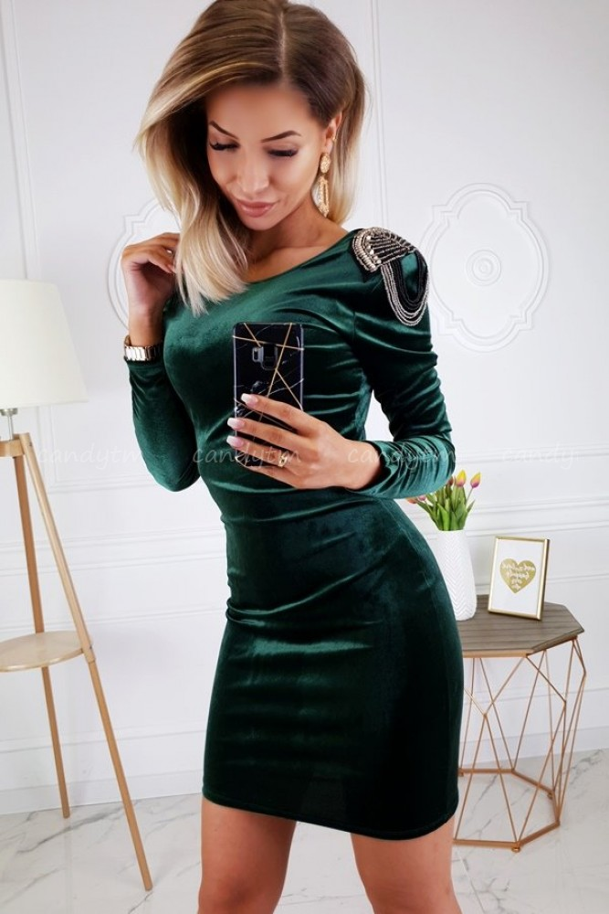 DRESS VELVET EPAULETTES BOTTLE GREEN