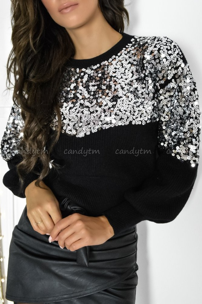 SWEATER SILVER SEQUINS BLACK