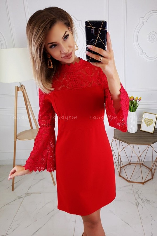 FLARED DRESS CHRISTMAS RED