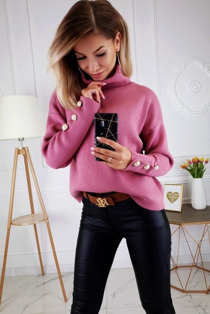 SWEATER WITH PEARLS BERRY