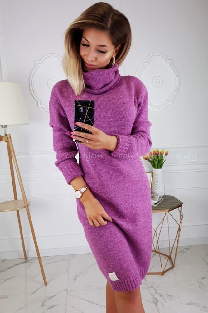 SWEATER DRESS CANDY WITH TURTLENECK BERRY COLOR