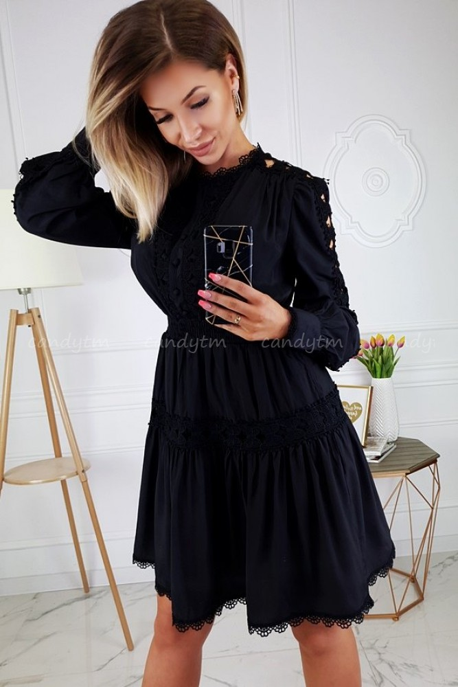 DRESS WITH LACE BLACK