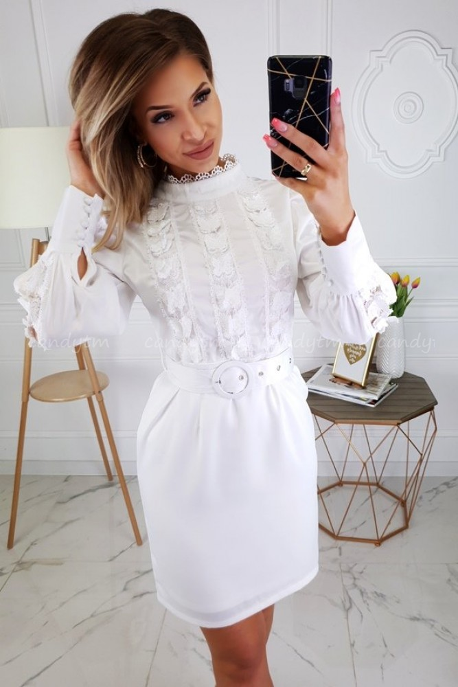 DRESS WITH LACE AND BELT WHITE