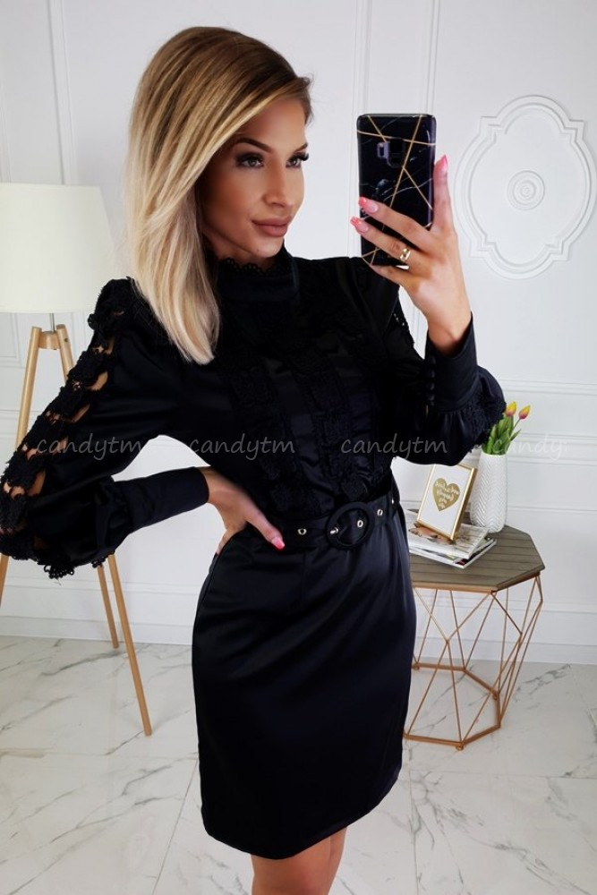 DRESS WITH LACE AND BELT BLACK