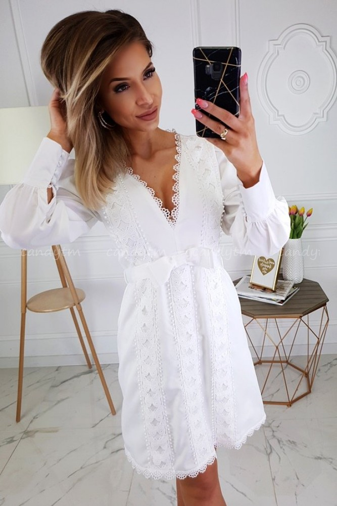 DRESS WITH LACE AND BOW WHITE