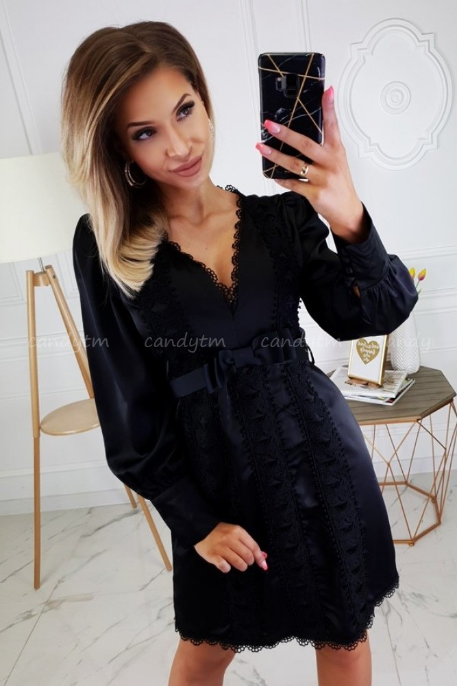 DRESS WITH LACE AND BOW BLACK