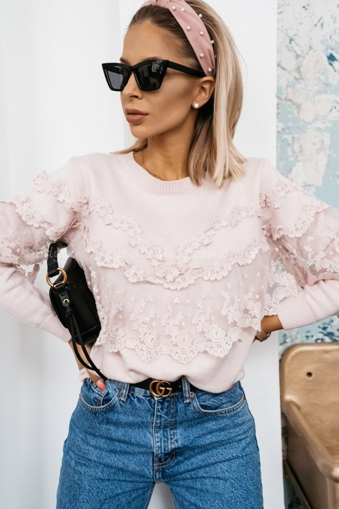 SWEATER WITH LACE POWDER PINK