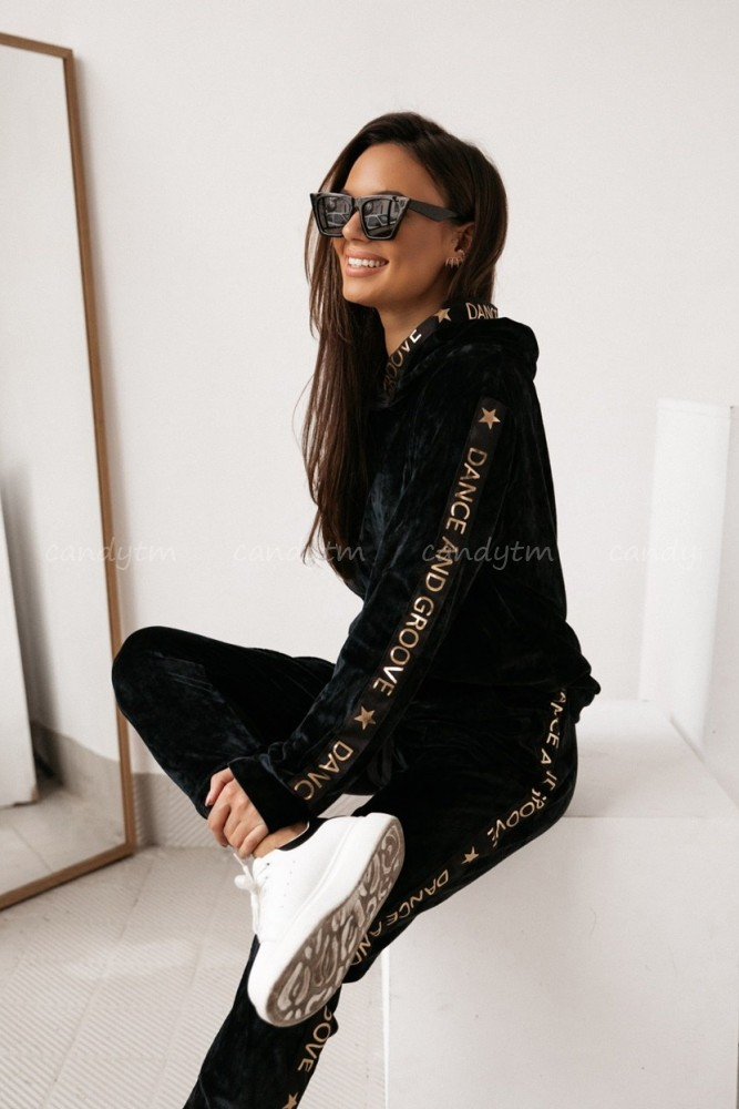 VELOUR JUMPSUIT DANCE AND GROOVE BLACK